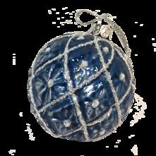 GREY/BLUE GLASS BALL WITH WHITE DIAMOND PATTERN (12)