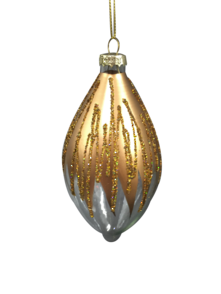 SNOWING GOLD, CLEAR GLASS OLIVE (12)