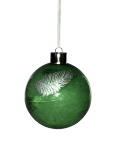 GREEN GLASS BALL WITH SILVER FEATHER (12)