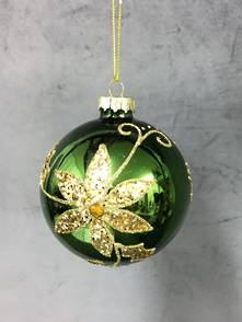 GREEN GLASS BALL WITH GOLD FLOWER (12)