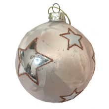 PINK GLASS BALL WITH SILVER STARS (12)