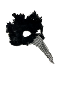 BLACK FEATHER MASK WITH SILVER NOSE
