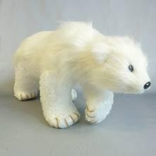 WHITE FUR WALKING POLAR BEAR