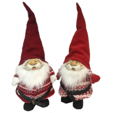 50CMH, PAIR RED AND WHITE STANDING SANTA GONKS
