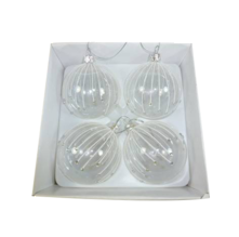 BOXED SET4 CLEAR GLASS BAUBLES W/ SNOW STRIPES (2)
