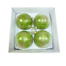 BOXED SET4 FADED GREEN GLASS BAUBLE (2)