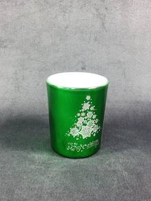 METALLIC GREEN TEALIGHT HOLDER WITH MERRY CHRISTMAS TREE (12)