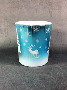 SHADED BLUE METALLIC VOTIVE W SNOWING DEER DESIGN (12)