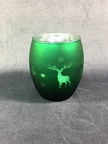 DARK GREEN VOTIVE HOLDER WITH TREE AND DEER DESIGN (12)