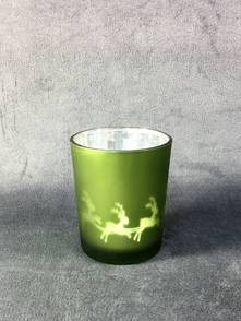 GREEN TEALIGHT HOLDER WITH SLEIGH DESIGN (12)