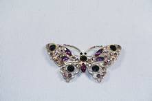 DOZEN PURPLE BUTTERFLY DIAMANTE HANGERS