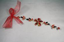 RED/GOLD FLOWER AND LEAF DIAMANTE DROP HANGER