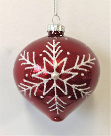 RED GLASS BALL WITH WHITE SNOWFLAKE  (6)