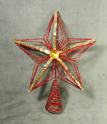 RED GLITTER STAR WITH GOLD SEQUIN TREE TOPPER