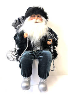 40CMH SITTING SANTA IN BLACK/SILVER HOLDING A GIFT BAG