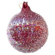 BURGUNDY GLASS BALL WITH GLASS SPOT HANGER (6)