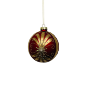 RED/GOLD GLASS FLUEUR D LYS PAINTED BALL (12)