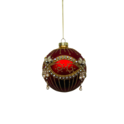 RED BALL WITH GOLD PAINT AND DIAMANTES (12)