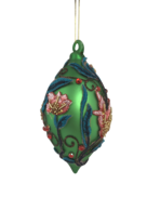 GREEN GLASS FINIAL WITH FLORAL DECORATION (6)