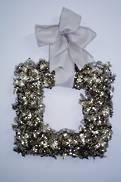 60CM SQUARE GOLD HOLLY WREATH
