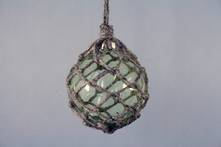 GREEN GLASS BALL IN JUTE HANGER (6)