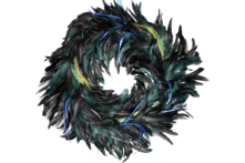 LARGE PEACOCK COLOUR FEATHER WREATH