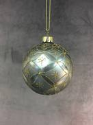 8CMD AGED BLUE GLASS BALL WITH GOLD PATTERN (6)