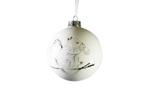 WHITE MATT GLASS BALL WITH SILVER DETAILED DESIGN HANGER (6)