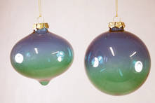 SET2 BLUE GREEN GLASS HANGERS (4)