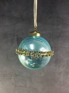 BLUE OPALESCENT GLASS BALL WITH DIAMANTE BAND (6)