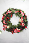 RED CHECK DRESSED WREATH
