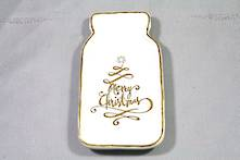 MERRY CHRISTMAS CREAM/GOLD STONEWARE DISH (6)