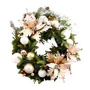 WREATH 'BLISS'  GLITTERED MIXED PINE WITH POINSETTIA