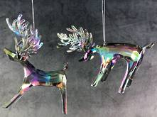 SET2 CLEAR IRIDESCENT ACRYLIC HANGING DEER