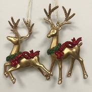 SET2 GOLD DEER WITH NECK WREATH HANGERS (6)