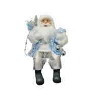 40CMH SITTING SANTA IN BLUE WHITE