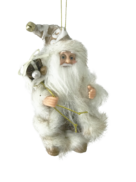 13CMH H SANTA HANGING ORNAMENT IN IVORY/BROWN