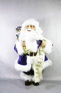30CMH STANDING SANTA IN BLUE/WHITE HOLDING A GIFT BAG AND NAMELIST