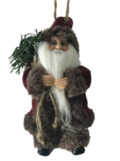 13CMH  SANTA HANGING ORNAMENT IN BURGUNDY/BROWN (6)