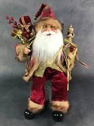 40CMH SITTING SANTA IN BURGUNDY GOLD HOLDING SCEPTER AND GIFT