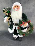 40CMH STANDING SANTA IN GREEN WHITE HOLDING A WREATH