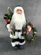 30CMH STANDING SANTA IN GREEN WHITE HOLDING A WREATH AND GIFT