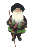 40CM STANDING SANTA IN FLORAL BURGUNDY GREEN WITH BAG OF GRA