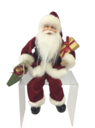 30CM SITTING SANTA IN RED WITH SHOPPING BAGS