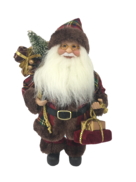 30CM STANDING SANTA IN TARTAN AND BURGUNDY
