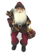 40CM SITTING SANTA IN TARTAN AND BURGUNDY