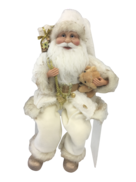40CM SITTING SANTA IN IVORY GOLD