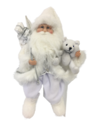 40CM SITTING SANTA IN WHITE SILVER