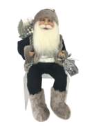 40CM SITTING SANTA IN BLACK GREY