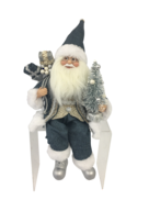 30CM SITTING SANTA IN BLUE BEIGE